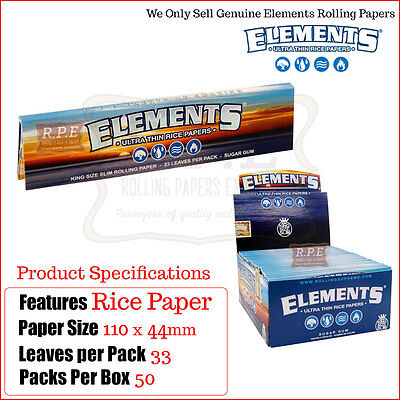 Elements King Size SLIMS Ultra Thin Rice Rolling Papers -Multi Listings Full Box