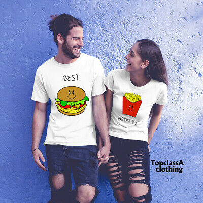 Couple Matching T shirts Best Friends Burger Chips Meal Funny Slogan Character