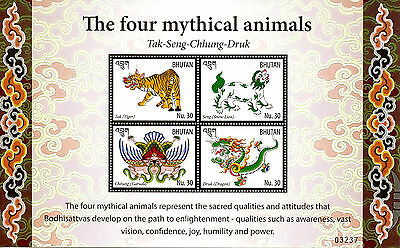 Bhutan 2016 MNH Four Mythical Animals 4v M/S Dragons Tigers Snow Lions Stamps