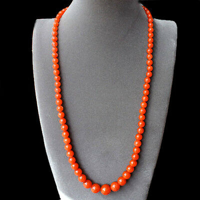 WOW Rare 100% Natural 400ct Chinese Nanhong Fire Agate Beaded Necklace - AAA