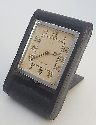 VINTAGE ART DECO 1930s ASPREY JAEGER LE COULTRE 8 DAY TRAVEL CLOCK