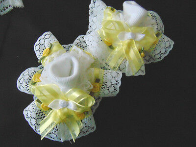 Girls Romany Bling Party Dance Frilly Socks In  Lemon With Roses~Hand Made