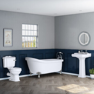Traditional Bathroom Suite with Freestanding Slipper Bath, Toilet + Basin Sink