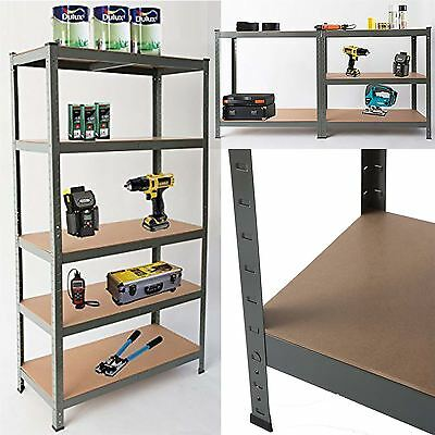 Heavy Duty Steel 5 Tier Racking And Storage Shelves Shed Garage Workbench Grey