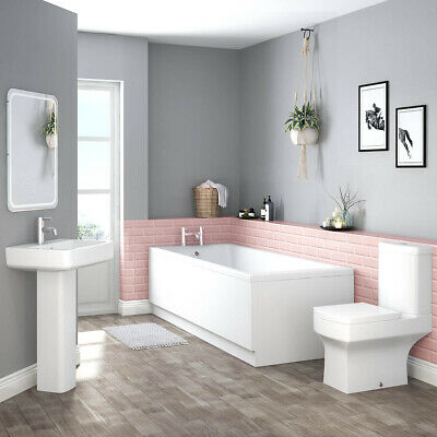 Modern Bathroom Suite with Single Ended 1700 Bath + WC Toilet + Basin Sink