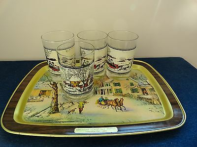 Vintage Arby's Currier and Ives High Ball Glasses & Tray Holiday Christmas 1978