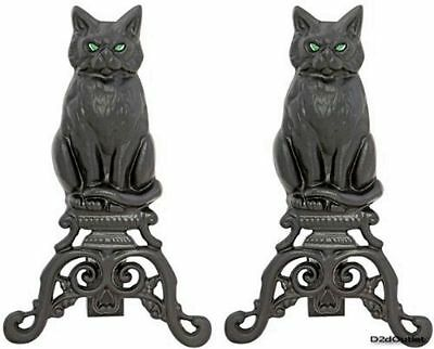 Gothic Cast Iron Cat Fireplace Andirons Black Sculpture Glowing Glass Eyes Logs
