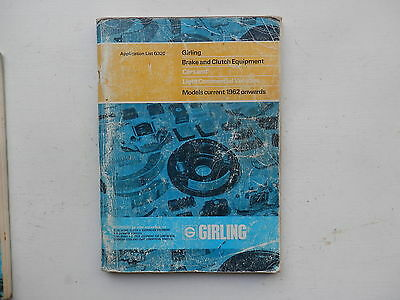 GIRLING Brake and Clutch Parts Catalogue issued around 1972  lists from 1960s