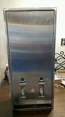 Stainless Steel 10c Tampon Napkin Dual Dispenser Vending Machine Vintage