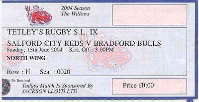 Ticket - Salford v Bradford Bulls Super League IX 2004