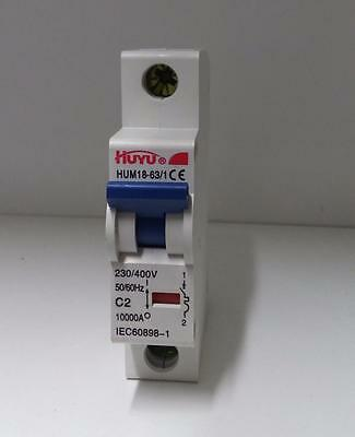 Mini Circuit Breaker HUYU  1 POLE C2 2A 400V  DIN RAIL MOUNTABLE   USA SELLER