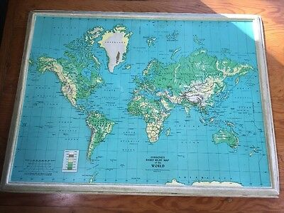 "Hammonds Raised Relief Map Of The World 27"" X 20"" 3-D 1960s Plastic"