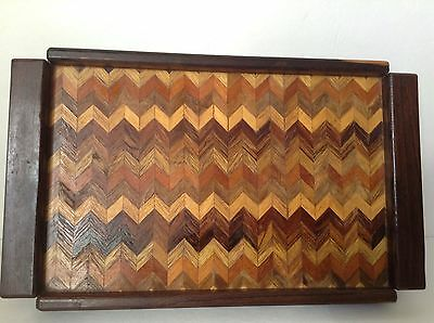 Vtg Don Shoemaker Senal S.A. Chevron Wood Inlay Parquetry MCM Serving Tray 15x9