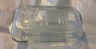 Vintage ARCOROC Glass Butter Dish Cow Design On Lid