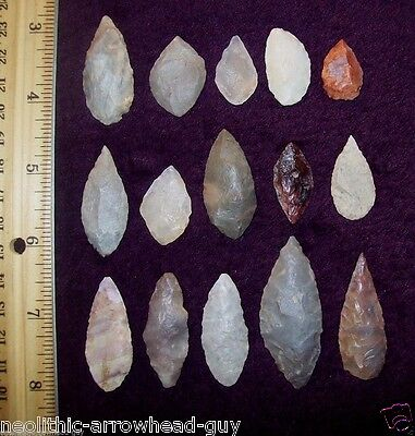 Choice Neolithic Arrowheads / Group of 15 (Blade)               # 12.8