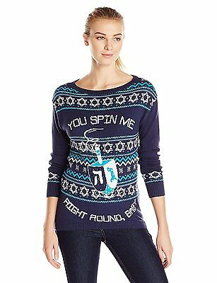 Isabellas Closet Womens You Spin Me Right Round Baby Dreidel Hanukkah Sweater,