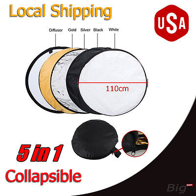 """110cm 43"""" 5-in-1 Photo Photography Studio Light Mulit Collapsible Reflector Case"""