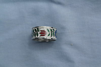 Dpg 925 Silver Colorful Enamel Sterling Silver Band Tulips & Other Flowers Ring