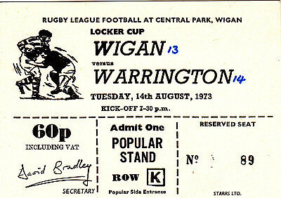 Ticket - Wigan v Warrington 14.08.1973 Locker Cup