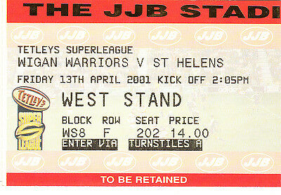 Ticket - Wigan Warriors v St Helens 13.04.2001