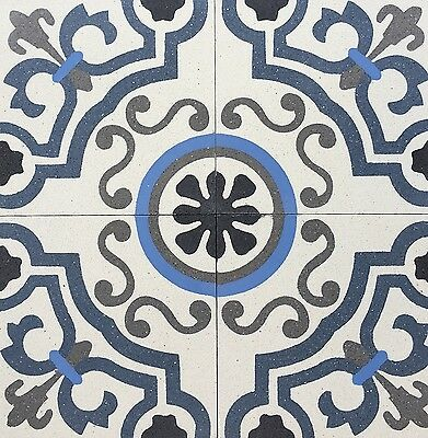 8X8 Lyon Blue Matte Encaustic Cement Tile Floor and Wall (Sold by Piece)