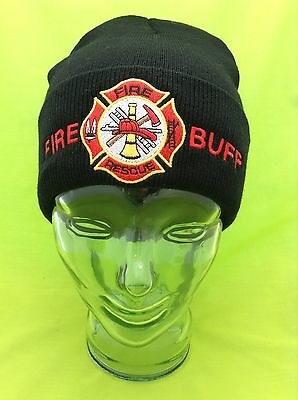 NEW Embroidered Fire Buff Maltese Fire Dept Black Stocking Winter Hat Cap