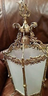 Vintage Rococo Hall Porch Gilt Brass Lantern with Frosted 6 panel Glass