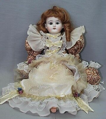 """Antique French Leather Body Bisque Head & Hands Dressed 16"""" Doll"""