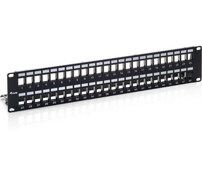 equip 48-Port Keystone Patchpanel Cat.6 geschirmt (2HE)