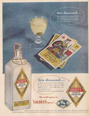 1954 Gilbeys Gin: This Diamond, Cards Print Ad (22827)