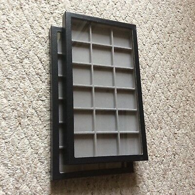 "Box of (2) 8"" x 14-1/2"" x 1"" Display Cases (""Riker"" type) with GRAY Dividers"