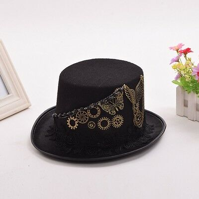 1pc Vintage Steampunk Gear Butterfly Black Top Hat Man Woman Couple's Hat Party
