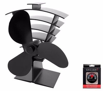 Valiant Ventum Iii Fan (Fir363) + Thermometer Deal - For Stove Top / Wood Heater
