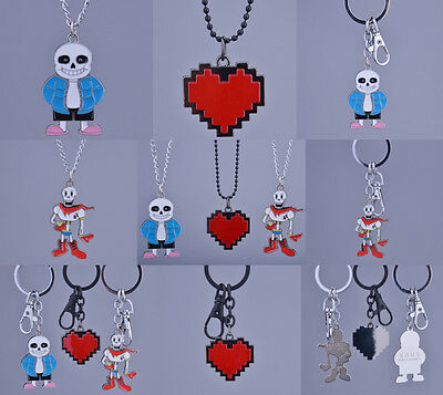 Undertale Sans Papyrus Red Heart Necklace Keychain Pendants Cosplay Collection