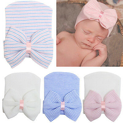 Cute Newborn Baby Infant Girl Toddler Bowknot Hospital Cap Beanie Hat Affordable