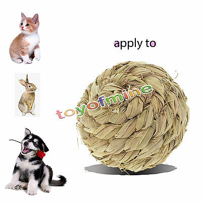 Pet Grass Ball with Bell Chew Play Toy for Rabbit Hamster Guinea Pig Rat 10cm