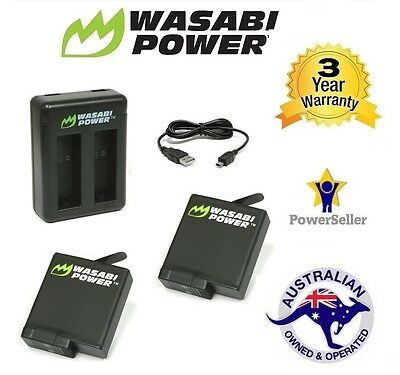 Wasabi Power Battery (1220mAh) x 2 with Dual USB Charger for GoPro HERO5 Go Pro