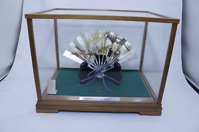 Japanese Antique Sterling Silver Fan with Case Stand Sensu Ohgi 10 Free Shipping