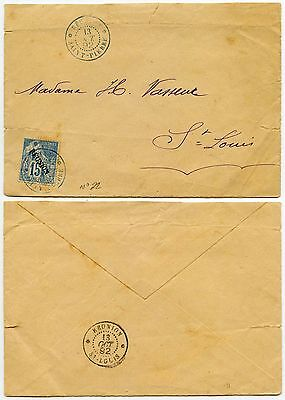 FRENCH REUNION 1892 COLONIES 15c OVERPRINT SINGLE FRANKING INTERNAL