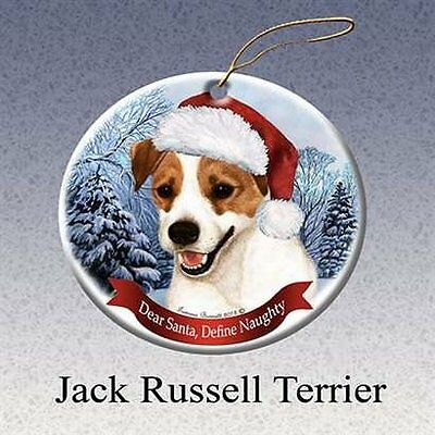 Dog in Santa Hat Porcelain Hanging Howliday Ornament (Jack Russell)
