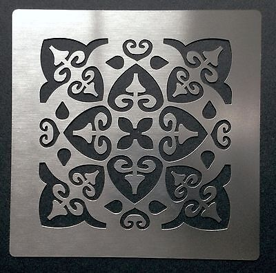 Romantic Shabby Chic SQUARE Tile Pattern Stainless Steel Metal Stencil 7cm x 7cm