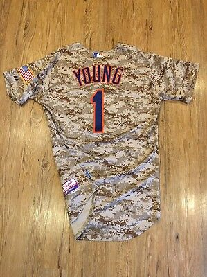 Eric Young Jr New York Mets Game Used Jersey Camo