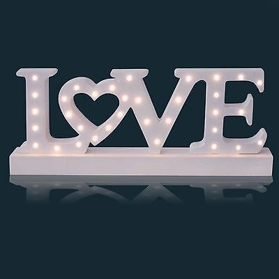 34 LED White Wooden Free Standing Love Letters Sign Table Top Light Lamp Gift
