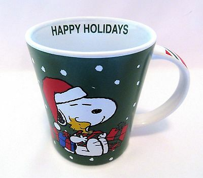 Coffee Cup Mug Peanuts Christmas Snoopy And Woodstock 15 oz New