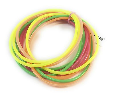 Mixed Neon Gummy Bangles Shag Bands Wristbands Bracelets 80's Fancy Dress Jelly