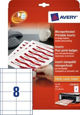 200 inserts pour porte-badge - 86 x 55mm - NEUF