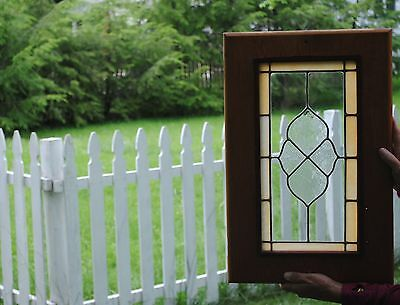 Stained Glass Window Door Panel Art - Handmade Home Decor - Framed Yellow
