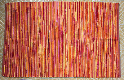 New Hand Woven Hand Made Indian Rag Rug Recycled Cotton Striped Rag Mat  4'x6'