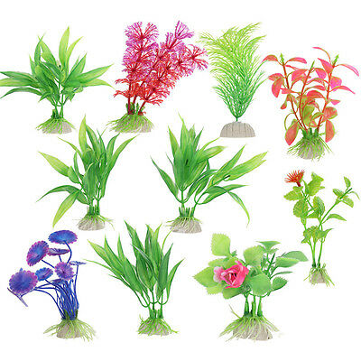 (10 pcs) Gazon Artificiel Herbe Faux Aquarium Plantes En Plastique
