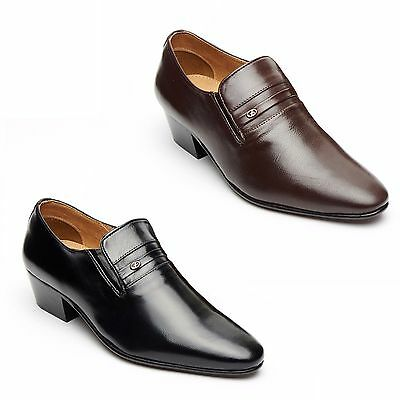 Lucini Mens Cuban Heels Real Leather Shoes Black & Brown